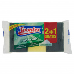 Spontex Universale Spugne Con Abrasivo - 3 Pezzi (2+1) - Lunga Durata