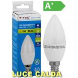 V-tac Lampadina Led 3W - Attacco Piccolo E14 - Candela - Luce Calda 2K