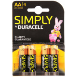 Duracell Simply Pile Formato Aa Stilo Alcaline 1.5V 4Pz