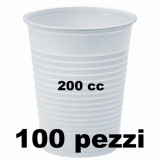 Bicchieri Monouso In Plastica Da 200Cc Bianchi - 100 Pezzi