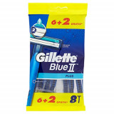 Gillette Blue Ii Plus Rasoi Radi E Getta Bilama - 8 Pezzi - Easy Grip