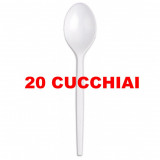 Dopla Cucchiai Monouso In Plastica - 20 Pezzi - Bianchi