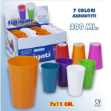 Fatigati Bicchiere Colorato In Plastica - 7X11Cm - 200Cc - Colori Assortiti