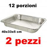 Fantastik Vaschetta Alluminio Senza Coperchio - 12 Porzioni 40X33X5Cm - 2 Pz