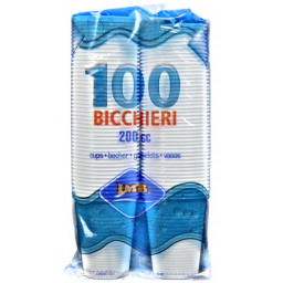 Imb Bicchieri Monouso In Plastica Da 200Cc Bianchi - 100 Pezzi