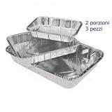 Vaschetta Alluminio Senza Coperchio - 2 Porzioni 21X14X4Cm - 3 Pezzi