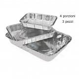 Vaschetta Alluminio Senza Coperchio - 4 Porzioni 22X17X4Cm - 3 Pezzi