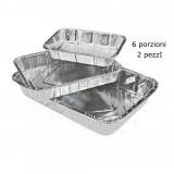 Vaschetta Alluminio Senza Coperchio - 6 Porzioni 31X21X5Cm - 2 Pezzi