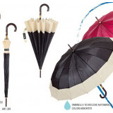 Ombrello Automatico Tinta Unita Con Fascia Chiara Diametro 110Cm - Art.201