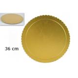 Vassoio Porta Torta In Cartone Pesante - Smerlettato - Color Oro - 36Cm
