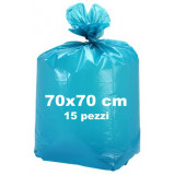 Sacco Pattumiera - 70X70 - 15 Pezzi - Azzurro