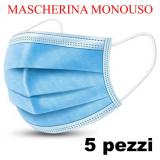 Mascherina Monouso - 5 Pezzi - 175X95Mm - Tnt A Tre Strati